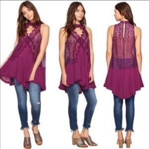 Free People Tell Tale Heart Lace Tunic Plum S NWT